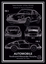 Porsche 911 Carrera Patent Posteri - Siyah