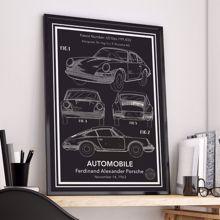Porsche 911 Carrera Patent Posteri - Çerçeveli Siyah